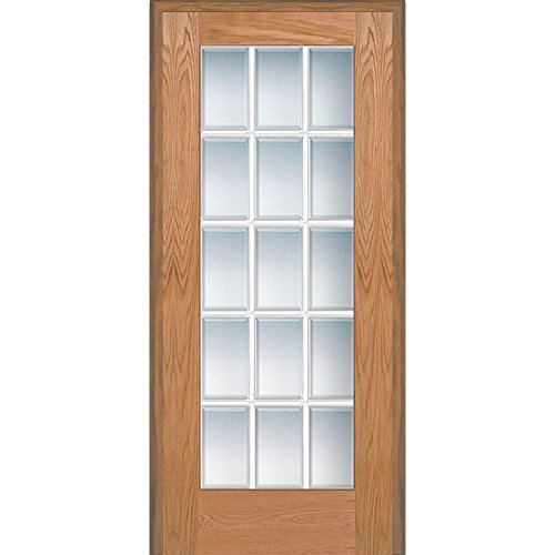 National Door Company Z020003R Unfinished Red Oak Wood 15 Lite True  Divided, Beveled Clear Glass