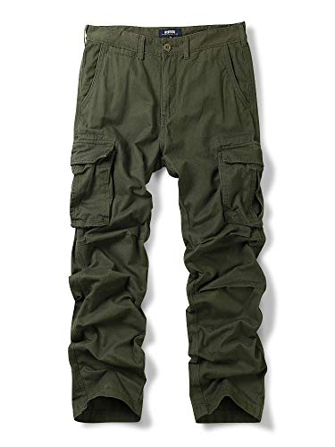 (OCHENTA Men's Cotton Military Cargo Pants, 6 Pockets Casual Work Combat Trousers Army Green 34)