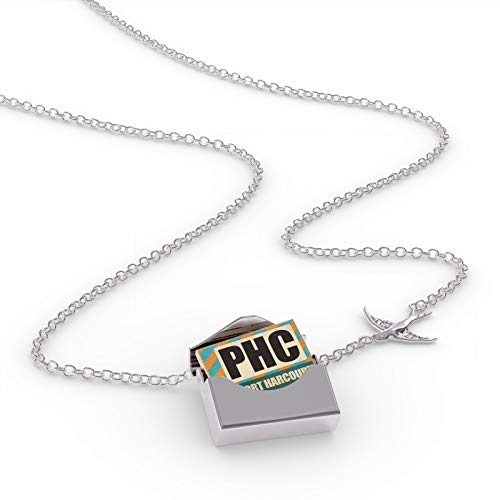 NEONBLOND Locket Necklace Airportcode PHc Port Harcourt in a Silver Envelope