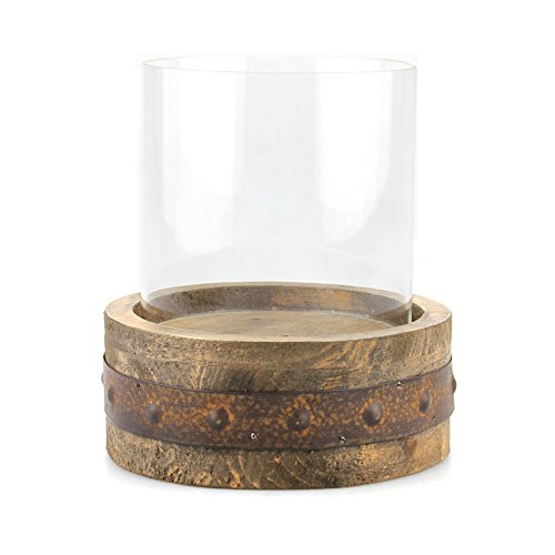 l Wooden Pillar Holder with Rust Trim and Removable Glass Cylinder, Rustic Decor Accents for Dining Table, Coffee Table, Mantel, or Any Table Top, Small (Cylinder Lantern)