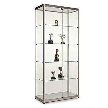Displaysense Silver Double Glass Door Display Cabinet, Width: 800mm,  Commercial Grade