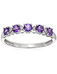 10k Tanzanite and Diamond Accented Stackable Ring, Size 7