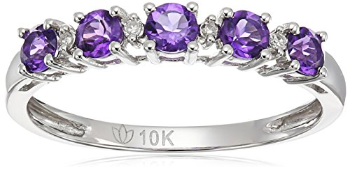 10k White Gold African Amethyst and Diamond Accented Stackable Ring, Size 7 - African White Gold Ring