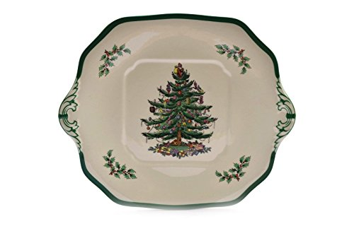 Spode Christmas Tree England S3324 Square Serving Cake Plate w/Handles