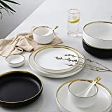 White And Black Round Gold Stroke Ceramic Dinner Plate Set Porcelain Steak Tableware Rice Soup Bowl Spoon Dish Home…