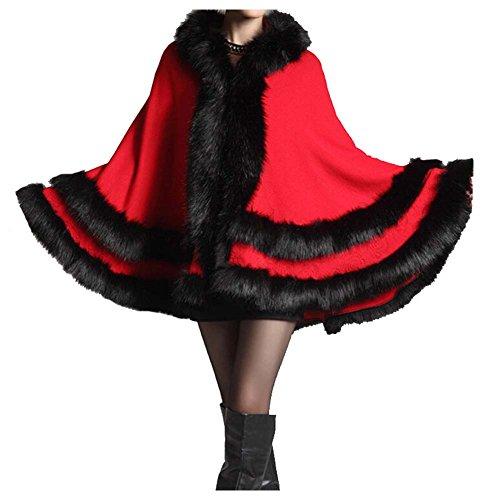 win8fong Femme en tricot doux longue Fourrure chale Bolro Stole Cape Cape Manteau red
