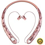 Bluetooth Headphones Bluenin Wireless Headphones Neckband Retractable Earbuds Noise Cancelling Stereo Headset Sport Sweatproof Earphones with Mic for iPhone Andriod Cell Phone Tablets TV (Rose Gold)