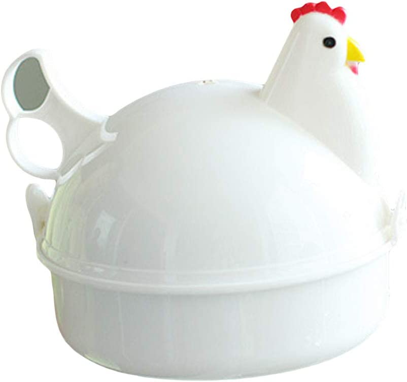 blackbirdlee Microwave Oven Egg Maker, Chicken Shape 4 Eggs Steamer Boiler Kitchen Microwave Oven Supplies Cooker Tool -Convenient for Your Breakfast