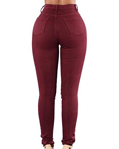 Dchir Trou Pantalons Pure Vin Jeggings Pantalons Rouge Denim Denim Femmes Couleur xYdtBYEw