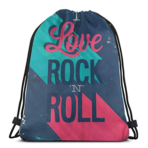 (Printed Drawstring Backpacks Bags,Vintage I Love Rock And Roll Slogan Worn Abstract Poster,Adjustable String Closure)