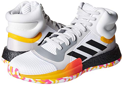 adidas Men's Marquee Boost Low Basketball Shoe, White/Black/Active Gold, 10 M US