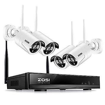 ZOSI 960P CCTV Seguridad de Sistema 4 Canales NVR Inalámbrico con 4 Cámaras sin Disco Duro Impermeable 30m Visión Nocturna App para Vigilancia en Móvil/PC: ...
