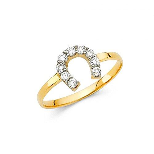 14k Yellow Gold Lucky Horseshoe CZ Ring -