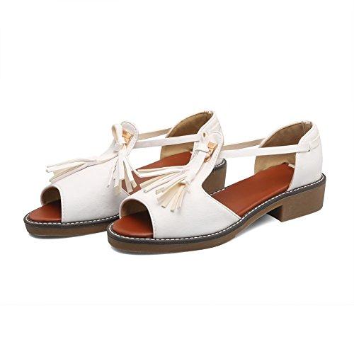 Heels BalaMasa Toe ASL04853 Urethane Peep Womens White Sandals Sandals Kitten qqwBpt4