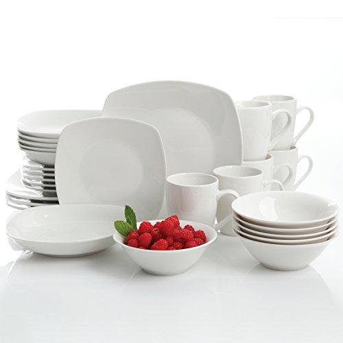 Gibson Home Hagen 30 Piece Dinnerware Set, - Full White Ceramic