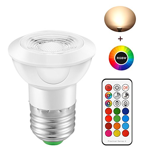 Lemonbest E26 Dimmable RGBW LED Spot Light Bulb 3W Color Changing Spotlight Wireless Remote Control RGB + 2700K Warm White LED Spotlight