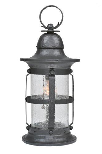 Meyda Tiffany 107470 One Light Hanging Lantern, Wrought Iron Finish with Seedy Glass