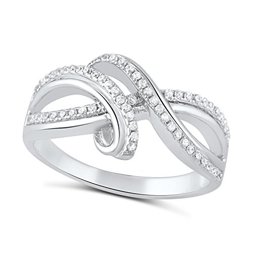 Sterling Silver Simulated Diamond Free Form Infinity Ring - Size 8 ()