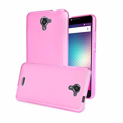 BLU R1 Plus R0071UU Case New Frontier Wireless Accessory Soft Gel TPU With Anti-Slip Back Side [Slim Cushion] [Lightweight Bumper] Protective Case (TPU - Pink Blu