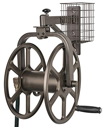 Liberty Garden 712 Single Arm Navigator Multi-Directional Garden Hose Reel, Holds 100-Feet of, 5/8-Inch, Bronze (Best Wall Mounted Garden Hose Reel)