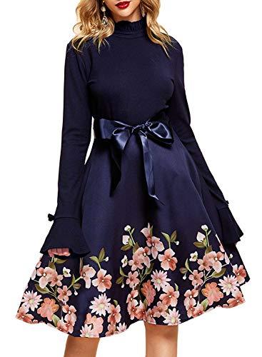 YIXUAN Women Long Sleeve Sweater Turtleneck Cocktail Swing Party Dress (Large, Dark Blue 2)