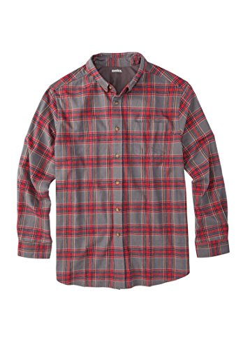 Kingsize Men's Big & Tall Flannel Holiday Shirt, Aged Cedar Plaid Big-5Xl
