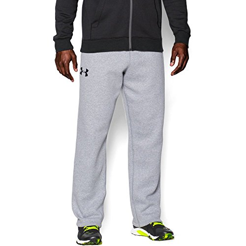 Under Armour Men's Rival Fleece Pants, True Gray Heather/Black, Small