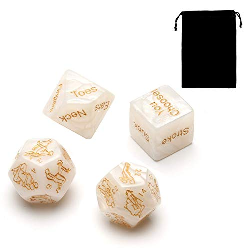 4pcs Romantic Novelty Game Dice, Role Playing Funny Gift for Valentine's Day, Honeymoon Bachelorette Party, Him and Her, Groom Roast, Bridal Shower, Newlyweds, Wedding, Anniversary, Marriage (Beige)