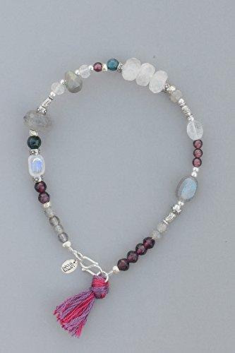 Generic Lutasiman white moon elongated stone lap Thai silver garnet bracelet hand Silver by Generic
