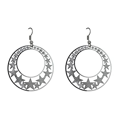 Happy Source Jewelry Fashion Punk Style Round with Many Stars Hook Earrings Silver Color