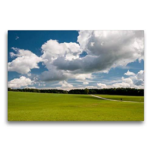 Premium Textil de lienzo 45cm x 30cm WIESEN Horizontal y nubes, 75x50 cm por Hans Seidl