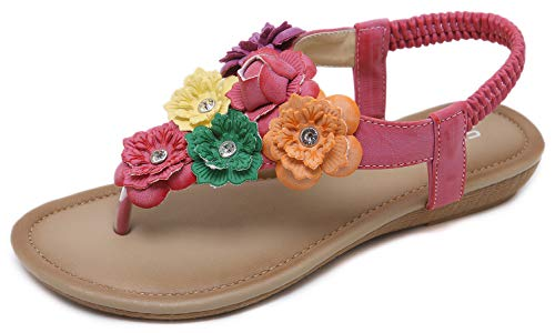 Women's Summer Floral Sandals Bohemian Sweet Look T-Strap Pink Flat Sandals Glittery Rhinestone Thong Shoes for Wedding Brides Bridesmaid Dress Beach Vacation Anti Skid Cruise Holiday Colorful Flowers