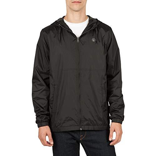 (Volcom Volco Men's Ermont Hooded Windbreaker Jacket, Black, Large)