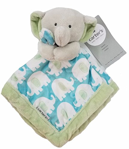 Carters Security Blanket  Blue Green Elephant  Discontinued By Manufacturer