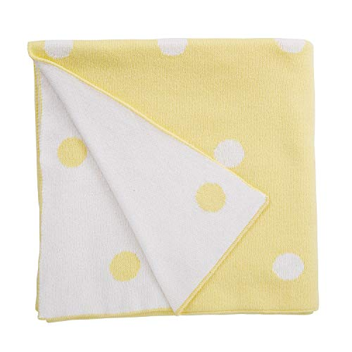 (Stephan Baby Cotton Crib Blanket, Luxe Reversible Yellow and White Dots)