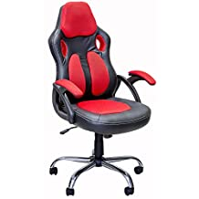 ViscoLogic Series SPIDER Gaming Racing Style Swivel Office Computer Desk Chair (Black Red)
