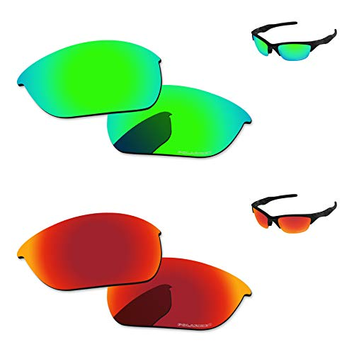 - PapaViva Replacement Lenses for Oakley Half Jacket 2.0 Fire Red & Bluish Green