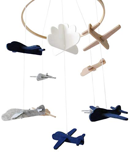Crib Mobile by Sorrel & Fern- Airplanes & Cloud Nursery Decoration | Grey and White, Navy Blue, Tan | Baby Crib Mobile for Boys (Airplane Baby Mobiles)