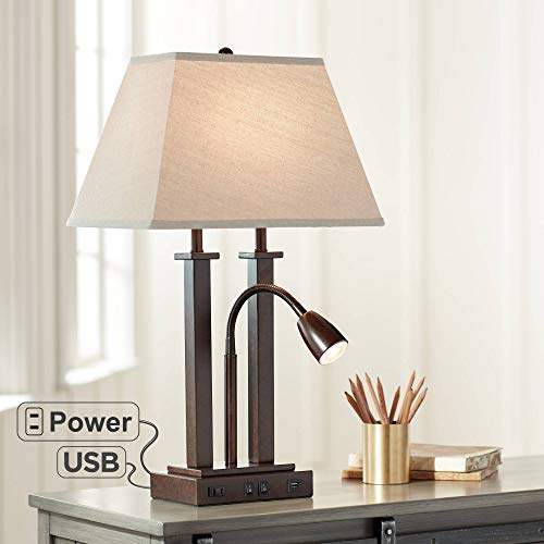 Deacon Modern Desk Table Lamp with USB and AC Power Outlet in Base Gooseneck LED Bronze Rectangular Linen Shade for Living Room Bedroom Bedside Nightstand Office Family - Possini Euro Design