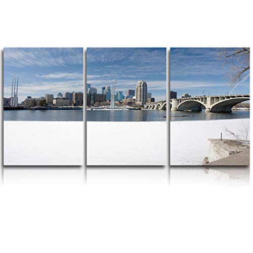 Arts Language 3 Pieces Canvas Print Wall Art for Office/Livingroom/Bedroom Winter Snow Scene in Minneapolis City Stretched and Framed Modern Giclee Artwork Wall Decor 20x28inx3 -