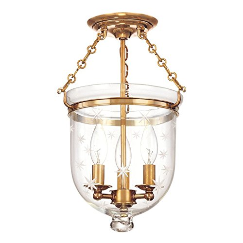 251 Hampton 3 Light - Hampton 3-Light Semi Flush - Aged Brass Finish with Clear Star Cut Glass Shade