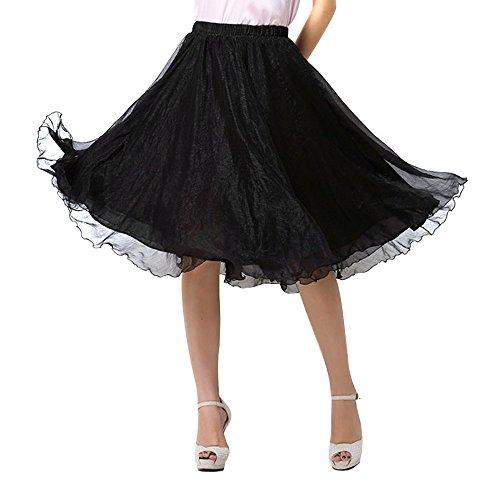 OCHENTA Femme Jupe Basic A Genou Casual En Mousseline de Soie Skirts Noir