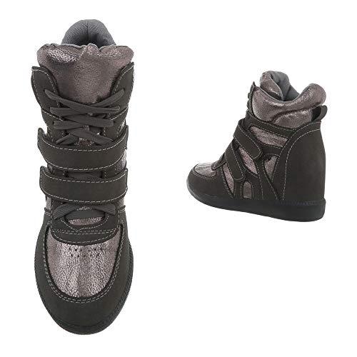Zy9192 Mujer Para Botas De Silber Tacon Botines Plataforma Ital Zapatos Cuna Grau design 67U5qww