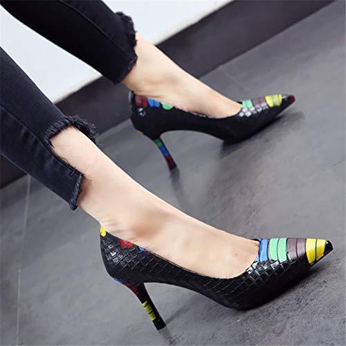 tacón el con Primavera La de Zapatos el acentúan apuntados los YMFIE de Trabajo Europea Atractivas Las Color otoño señoras talón del Zapatos B Atractivos del Empareja Que Bien Solo y x0wwPdqI