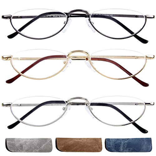 +200 Women's Reading Glasses 3 Pack, Slip In Cases, Oval Prescription Readers