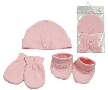 22b7ee223276 KING BEAR Set 3 pièces naissance en coton avec bonnet chaussons et moufles.  Testé et