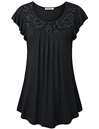 Youtalia Tunics for Women, Ladies Ruffle Sleeve Round Neck Curve Hem A Line Pleated Stretchy Loose Fit and Flare A Line Casual Tunic,Black Medium