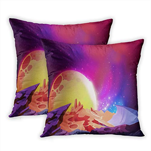 Sgvsdg Set of 2 Throw Pillow Cover The Magnificent Scenery Cosmos Wonders Alien Planet Story With Fantastic Cartoon Scene Wallpaper 18 X 18 Inch Square Hidden Zipper Home Cushion Decorative Pillowcase