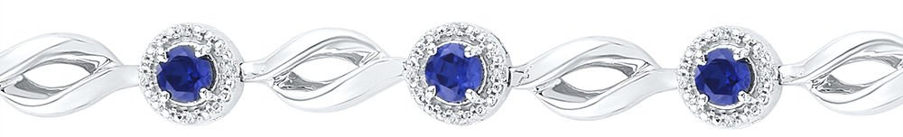 Sterling Silver Round Lab-Created Blue Sapphire Tennis Bracelet 3-1/4 Ctw