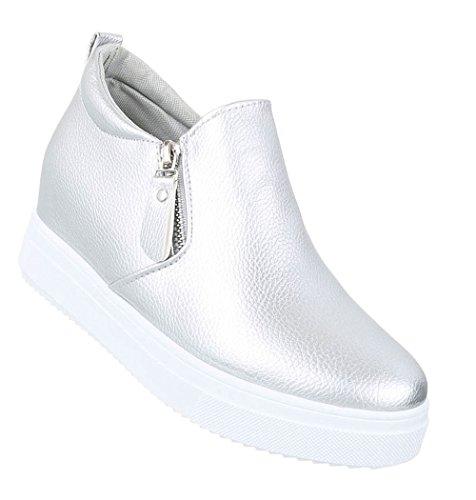 Damen Stiefelette | Stiefeletten Plateau Wedges | Keilabsatz Schuhe | Wedge Ankle Booties | Weiße Profilsohle | Schnürstiefelette | Schuhcity24 Modell Nr1 Silber
